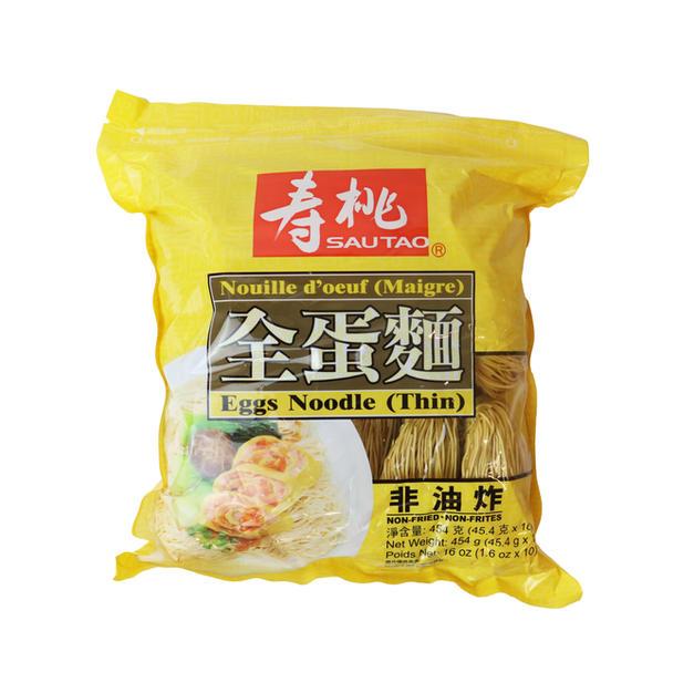 Sautao Thin Egg Noodle (16oz) 寿桃全蛋面