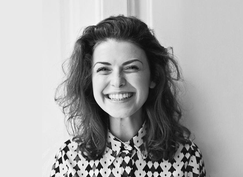 Lachende vrouw zwart/wit