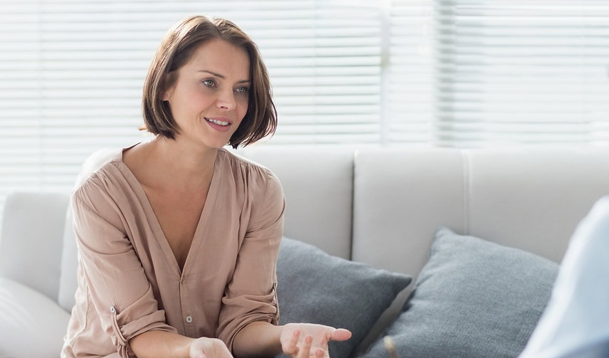 Psychology patient speaking to therapist