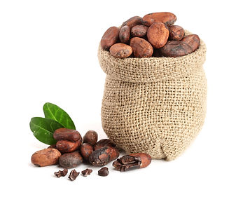 Cocoa beans in bag with leaves isolated