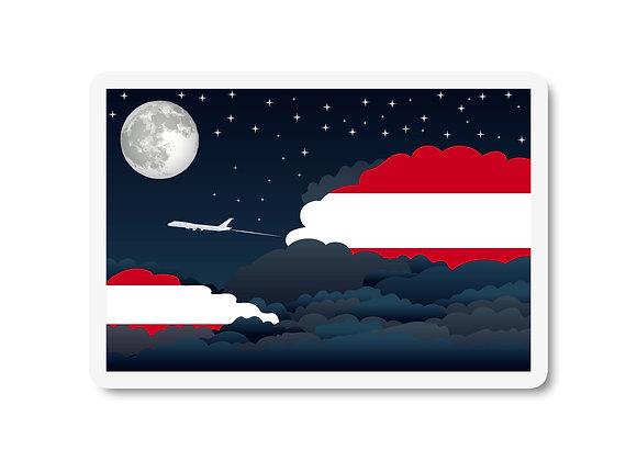 Austria Flags Night Clouds Sticker