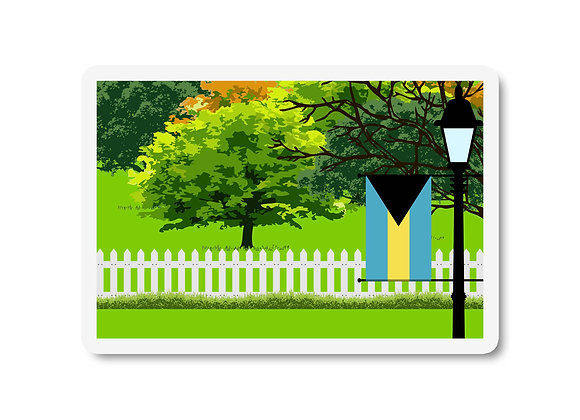 Bahamas Flag Trees and Street Lamp Sticker