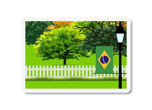 Brazil Flag Trees and Street Lamp Sticker