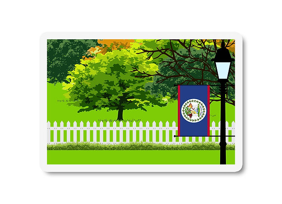 Belize Flag Trees and Street Lamp Sticker