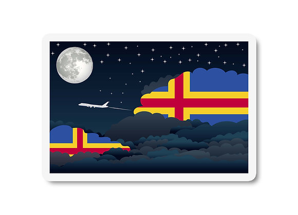 Aland Flags Night Clouds Sticker