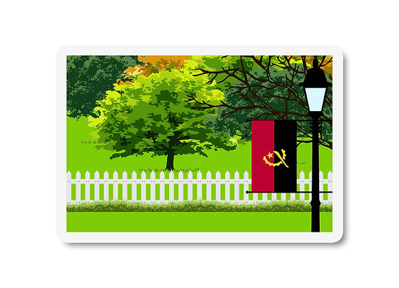 Angola Flag Trees and Street Lamp Sticker