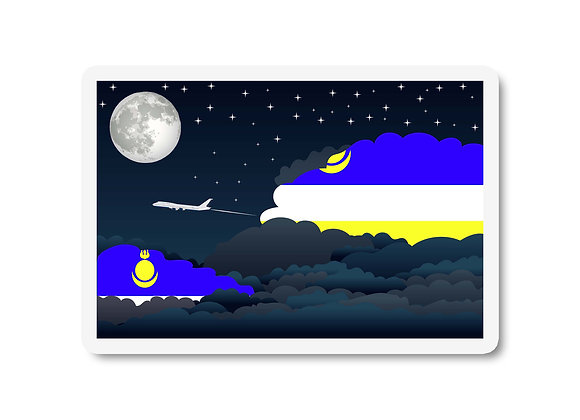 Buryatia Flags Night Clouds Sticker