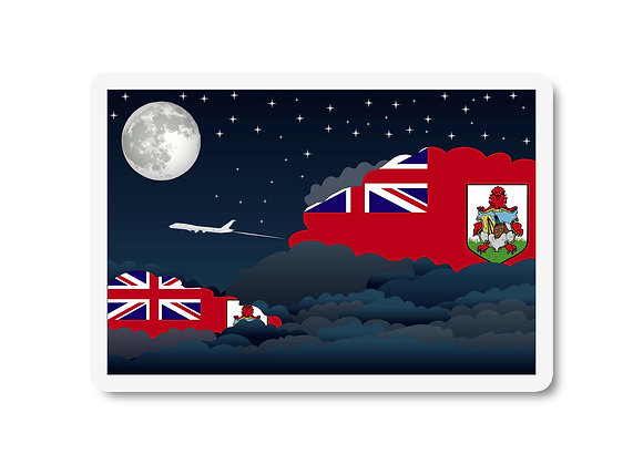 Bermuda Flags Night Clouds Sticker