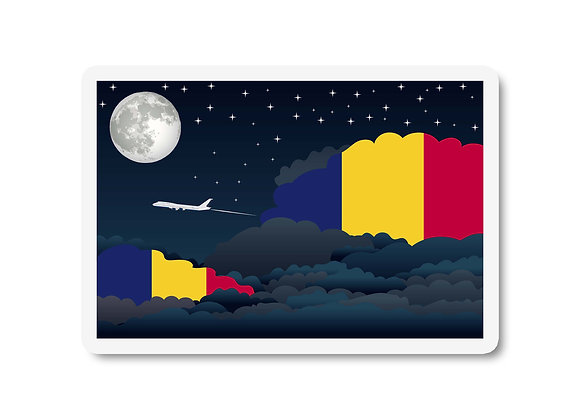 Chad Flags Night Clouds Sticker