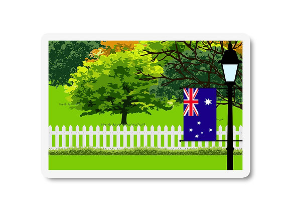 Australia Flag Trees and Street Lamp Sticker