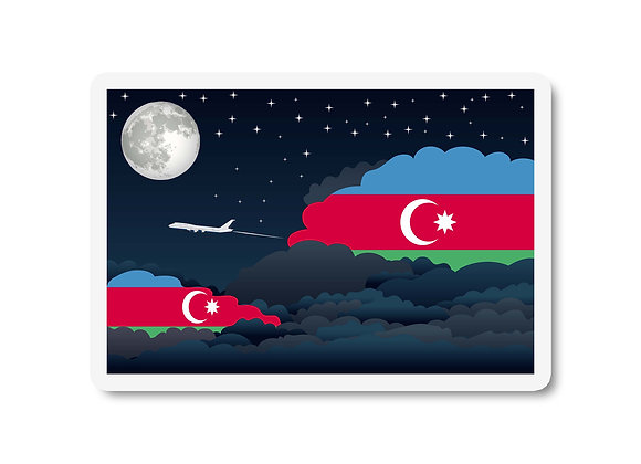 Azerbaijan Flags Night Clouds Sticker