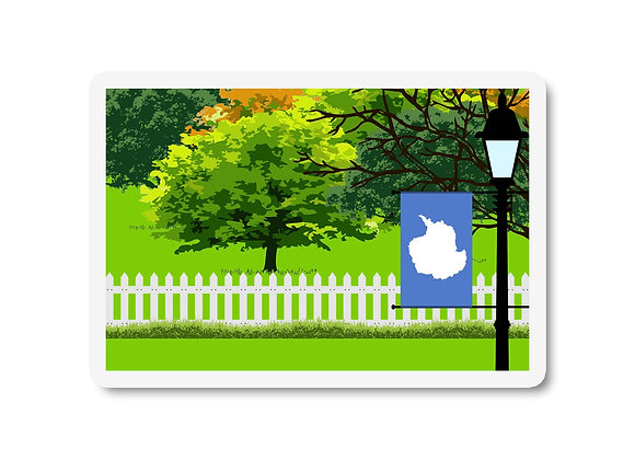 Antarctica Flag Trees and Street Lamp Sticker