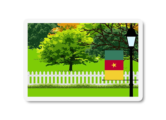 Cameroon Flag Trees and Street Lamp Sticker