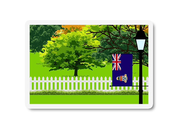 Cayman Islands Flag Trees and Street Lamp Sticker