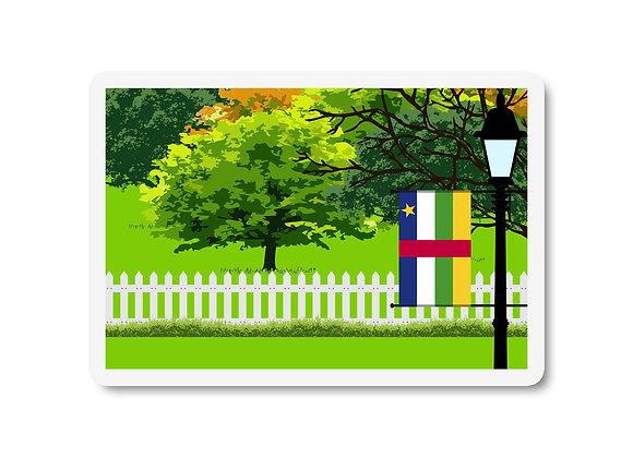 Central African Republic Flag Trees and Street Lamp Sticker