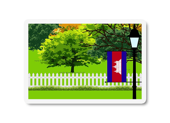 Cambodia Flag Trees and Street Lamp Sticker