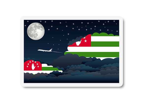 Abkhazia Flags Night Clouds Sticker