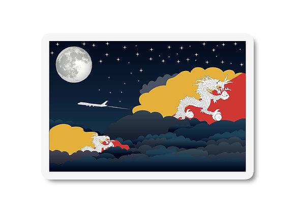 Bhutan Flags Night Clouds Sticker