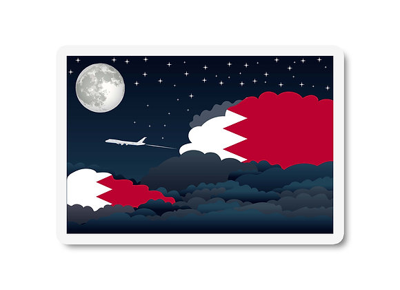 Bahrain Flags Night Clouds Sticker