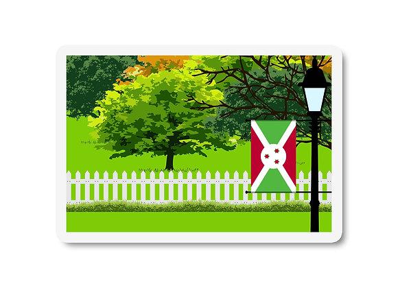 Burundi Flag Trees and Street Lamp Sticker