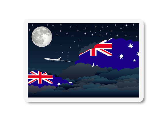 Australia Flags Night Clouds Sticker