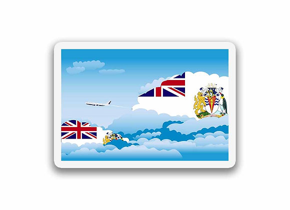 British Antarctic Territory Flags Day Clouds Sticker