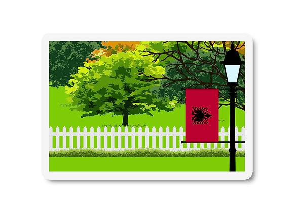 Albania Flag Trees and Street Lamp Sticker
