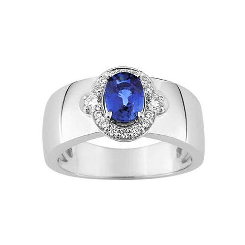 Bague or diamants et saphir 1,20 carat