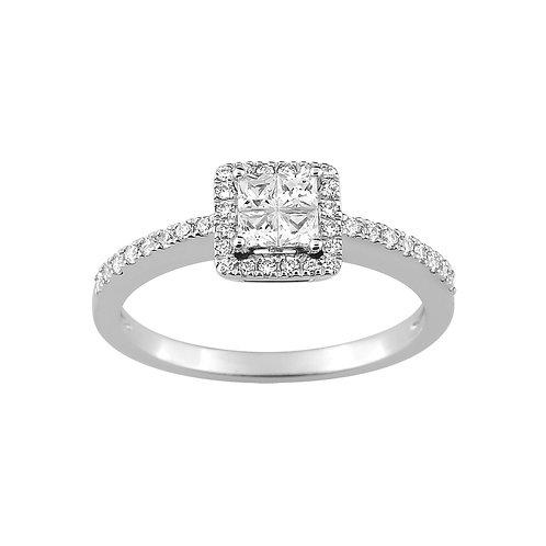 Bague diamants 0,40 carat or blanc