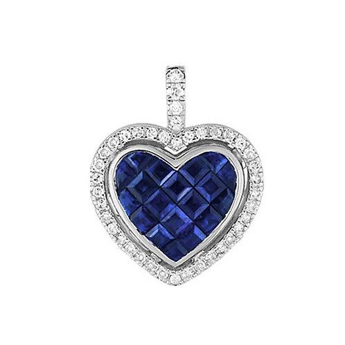 Pendentif cœur or blanc saphirs et diamants