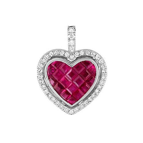 Pendentif cœur or blanc rubis et diamants