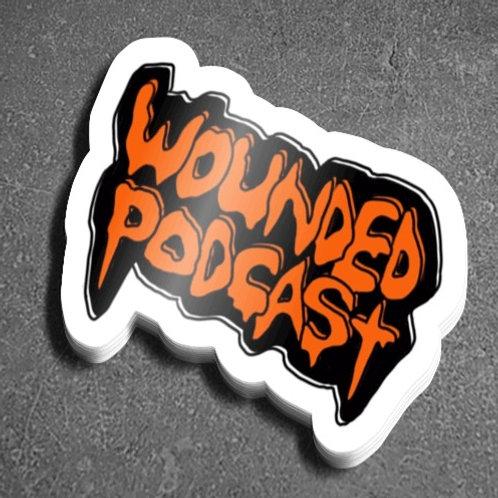Wounded Podcast (Black/Orange Sticker)