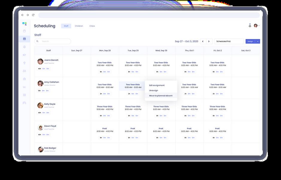 daycare staff planning software dashboard
