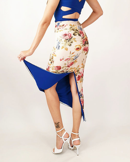 Roman Desire Floral & Sax Blue Reversible Tango Skirt