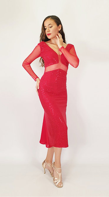 Vanesa - Red Sequin Tango Show Dress