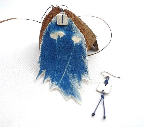 'bluest dreams' asymmetric mixed media handmade dangle earrings