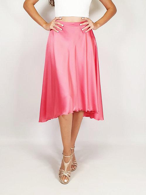 Flowy & Satin - Coral Pink Princess Klosh Satin Tango Skirt