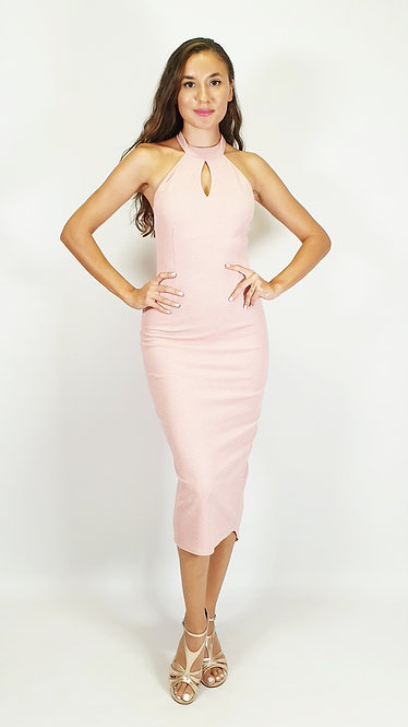 Elpida - Salmon Pink Halterneck Shiny Tango Dress
