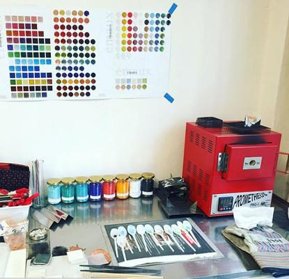 enameling corner; kiln, enamals, tools and supplies.