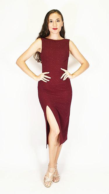 Euporia - Maroon Closed Neck Shiny Tango Dress