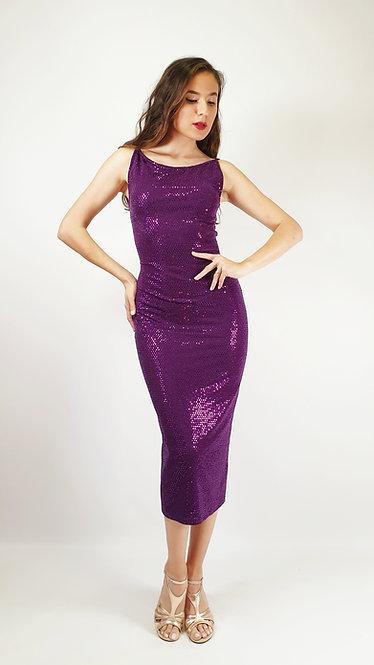 Thalia - Purple Sequin Shiny Tango Dress