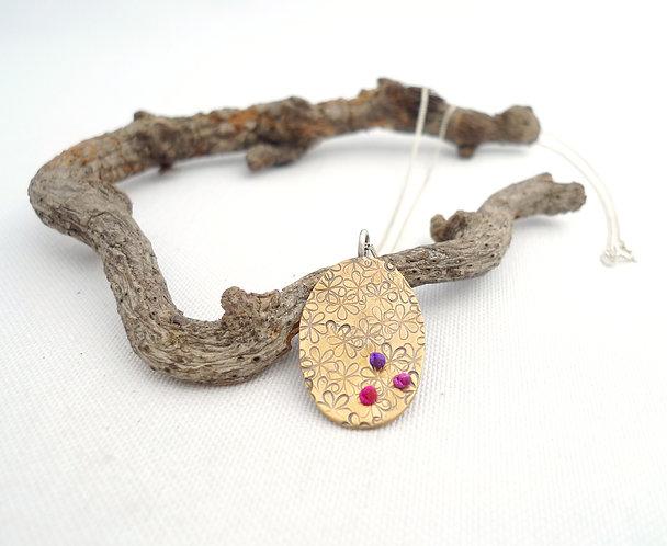 'flowery Chintamani' flower stamped handmade necklace