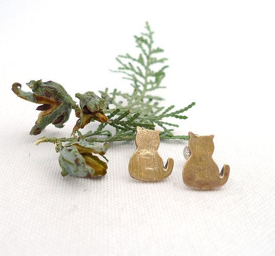 'two cats' asymmetric bronze handmade stud earrings