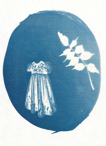 'capturing life: traces of memories' ccyanotype monoprint on paper