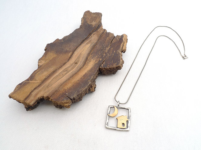 'in the square frame, little house and crescent' mixed metal handmade necklace