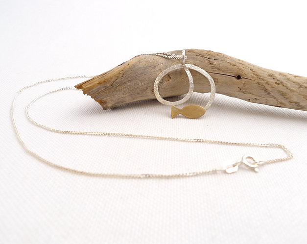 'under the sea' hammered minimalist handmade necklace