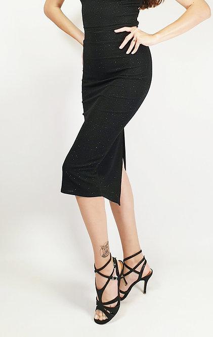 Athena - Black Shiny Tango Skirt