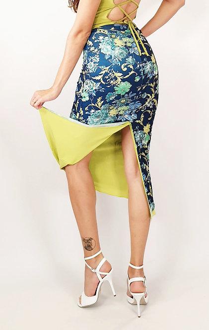 Joyful Amsterdam Floral & Lime  Tango Skirt