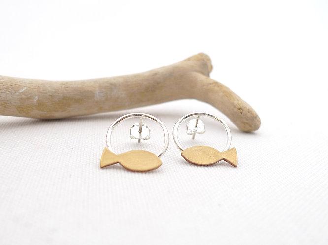 'on the circle' mixed metal handmade stud earrings