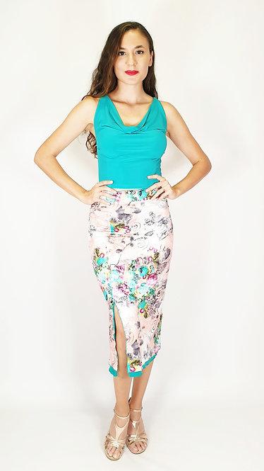 Top: Katerina Cyan - Skirt: Mysterious Jakarta Floral & Cyan